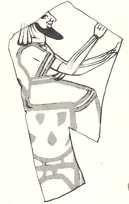 26. Иудейский сановник или царь (возможно, Йеояким). Рисунок на керамике. Конец 7-го века до н.э.
