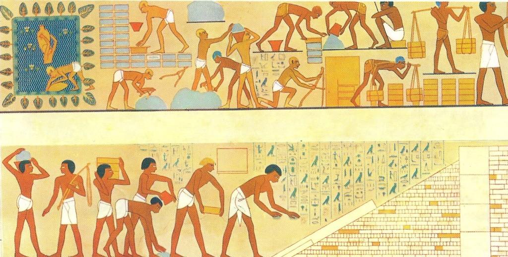 Изготовление кирпичей в древнем Египте. Рисунок из гробницы Рехмирэ в Фивах. XV век до н.э.