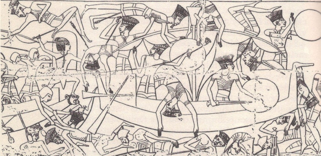 The naval battle between Egyptians and Sea Peoples. Relief from the Medinet Habu.